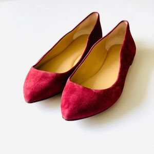 Ann Taylor Suede Pointed Toe Berry Red